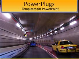 PowerPlugs: PowerPoint template with taxi and blue van in tunnel
