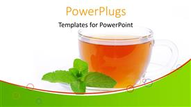 PowerPoint template displaying transparent cup filled with tea and mint leaf on white background