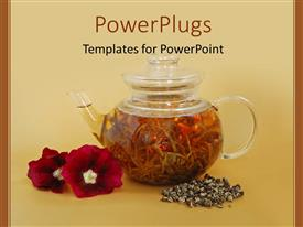 PowerPlugs: PowerPoint template with a tea pot holding tea with flowers along side the tea pot