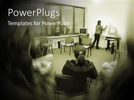 PowerPlugs: PowerPoint template with a teacher in the classroom along with the students