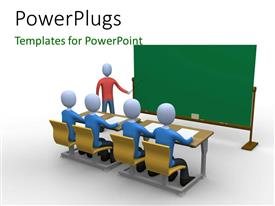 PowerPlugs: PowerPoint template with a teacher in the classroom during lecture