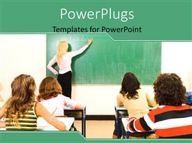 PowerPoint template displaying a teacher in a classroom with a lot of students