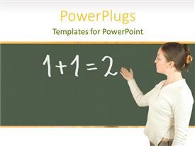 PowerPoint template displaying a teacher in a classroom teaching maths