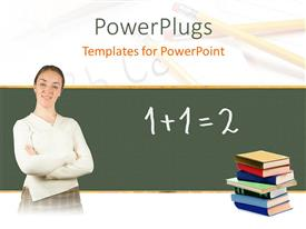PowerPlugs: PowerPoint template with teacher in front of blackboard with stack of books