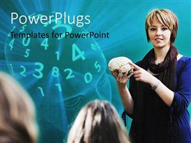 PowerPlugs: PowerPoint template with teacher holding model of brain, head full of numbers
