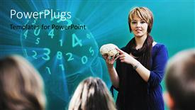 PowerPoint template displaying teacher holding model of brain, head full of numbers