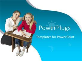 PowerPlugs: PowerPoint template with teacher kneeling beside a pupil both smiling on  white and blue background
