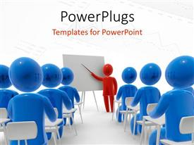 PowerPlugs: PowerPoint template with teacher with pointer in front of students with charts