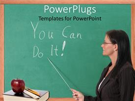 PowerPlugs: PowerPoint template with teacher pointing You Can Do It! text written on chalkboard