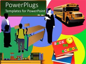 PowerPoint template displaying a teacher  with school bus and students