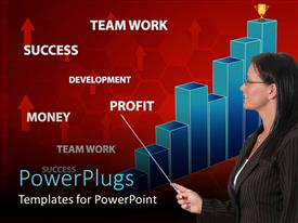 PowerPlugs: PowerPoint template with a teacher teaching about the growth graph