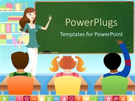 PowerPlugs: PowerPoint template with teacher and three pupils in classroom with board and books