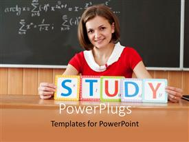 PowerPlugs: PowerPoint template with a teacher with the word study and blackboard in background