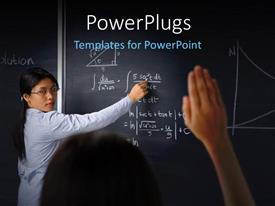PowerPlugs: PowerPoint template with a teacher writing on the blackboard with a student asking the question
