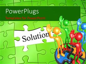 PowerPlugs: PowerPoint template with team of 3D men stand on green puzzle with missing piece