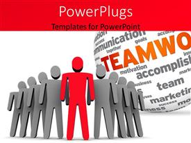 PowerPoint template displaying team of 3D men with teamwork related terms on white sphere