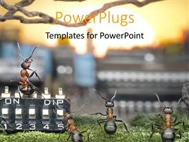 PowerPlugs: PowerPoint template with a lot of ants with a building in the background
