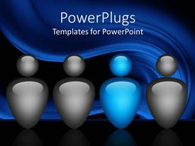 PowerPoint template displaying team of blue and gray figures on abstract background