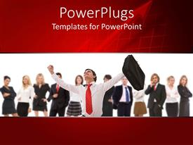 PowerPlugs: PowerPoint template with team of business people with happy business man holding suitcase in raised hand