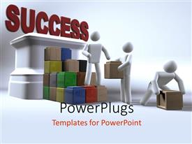 PowerPlugs: PowerPoint template with team collaborating to reach success using building blocks with white color