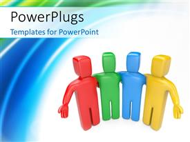 PowerPlugs: PowerPoint template with team of colorful 3D Human characters welcoming with colorful curves in the background