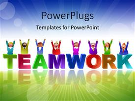 PowerPlugs: PowerPoint template with team in different colors over the word Teamwork with landscape in background