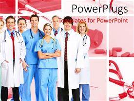 PowerPlugs: PowerPoint template with team of doctors and nurses wearing stethoscopes and smiling at the camera