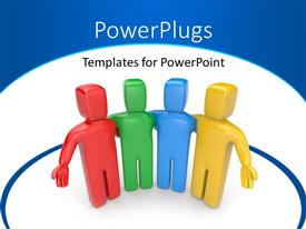 PowerPoint template displaying team of four different colored men standing together in blue circle