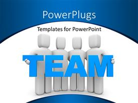 PowerPoint template displaying team of four people carrying word TEAM over white background