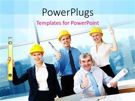 PowerPoint template displaying team of happy architects with building plan and construction equipments