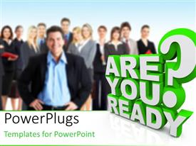 PowerPlugs: PowerPoint template with team with leader blurred in background with 3D word ARE YOU READY