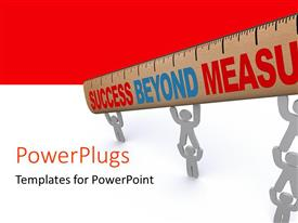 PowerPlugs: PowerPoint template with various people with a ruler and red and white background