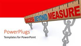 PowerPoint template displaying various people with a ruler and red and white background