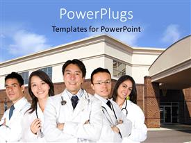 PowerPoint template displaying team of medical doctors with stethoscope across neck with hospital building