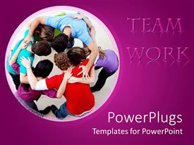 PowerPlugs: PowerPoint template with team of men and women forming a circle and team work words on purple background