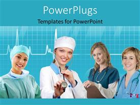 PowerPlugs: PowerPoint template with team of nurses with stethoscope across neck and evaluation notes