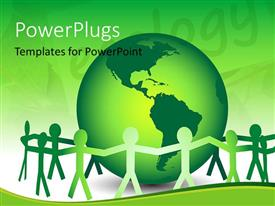 PowerPlugs: PowerPoint template with team of paper dolls unite around a green globe, Go green and help save the earth concept