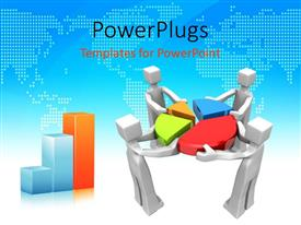 PowerPlugs: PowerPoint template with a team of people holding the pie chart together
