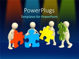 PowerPlugs: PowerPoint template with a team of people putting together multicolored missing puzzle pieces as a metaphor on a blue background
