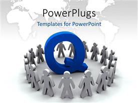 PowerPlugs: PowerPoint template with team of people surround the letter Q with world map
