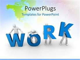 PowerPlugs: PowerPoint template with a team of people trying to hold the word work