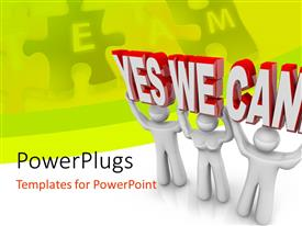 PowerPlugs: PowerPoint template with team spirit depiction with determined 3D men working together in unity