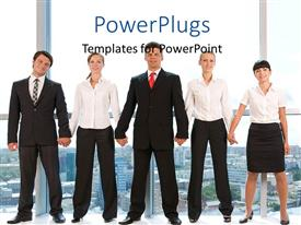 PowerPlugs: PowerPoint template with a team of professionals with office in background