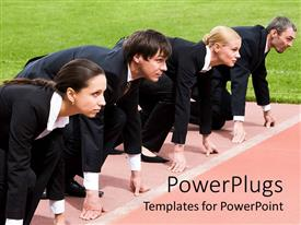 PowerPlugs: PowerPoint template with a team of professionals ready for a race