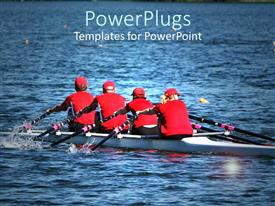 PowerPoint template displaying a team of rowers in the sea