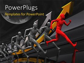 PowerPlugs: PowerPoint template with team of runners with red colored leader and earth globe in background