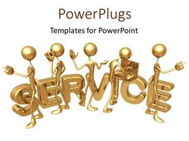 PowerPoint template displaying team of service workers gold on white background