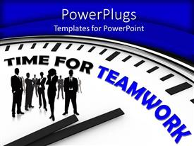 PowerPlugs: PowerPoint template with team standing on white clock on green background showing teamwork