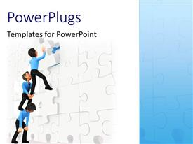 PowerPlugs: PowerPoint template with a team of three people trying to solve a jigsaw puzzle