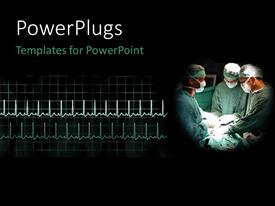 PowerPoint template displaying a team of three surgeons having an operation on a patient
